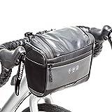 BAIGIO Bolsa Manillar Bicicleta Multifuncional Portátil Bolsa para Manillar de MTB Bicicleta Eléctrico Bicicleta Bolsa Delantera Bici Montaña con Pantalla Táctil para Movil GPS, 3,5L (Negro)