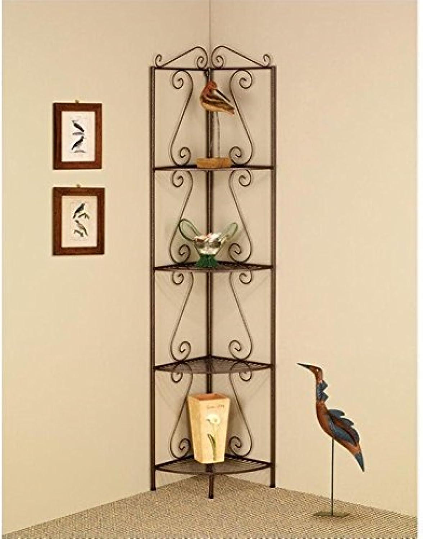 Bowery Hill Corner Shelf with Decorative Scrolls in Copper