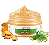 Turmeric Clay Mask for Face, Face Mud Mask for Deep Cleansing, Clay Face Mask with Vitamin C E/Kaolin/Aloe Vera/ Honey Extract - Face Mask Skin Care for Blackheads, Acne, Oil Control and Refining Pores