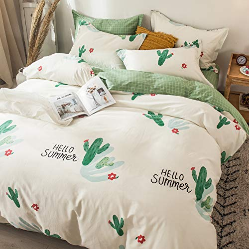 LAYENJOY Cactus Duvet Cover Set Queen, 100% Cotton, Cartoon Cactus Watercolor Print on Beige White Bedding, 1 Comforter Cover Full with Zipper Ties 2 Pillowcases, Luxury Quality Soft Lightweight