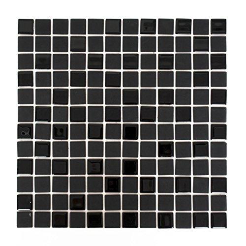 Mosaik Fliese selbstklebend Transluzent schwarz Glasmosaik Crystal schwarz matt schwarz für WAND BAD WC KÜCHE FLIESENSPIEGEL THEKENVERKLEIDUNG BADEWANNENVERKLEIDUNG Mosaikmatte Mosaikplatte