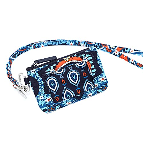 Zip ID Case with Lanyard for id case Wallet id Badge Holders (Navy-99)