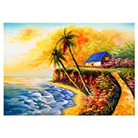 5dダイヤモンド絵画セット、海辺、クリスタルダイヤモンド刺繡、家の壁の装飾ギフト-スクエアダイヤモンド_30 * 40
