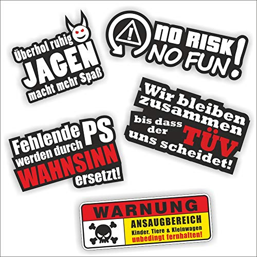 folien-zentrum 5 Aufkleber Set Shocker Hand Auto JDM Tuning OEM Dub Decal Stickerbomb Bombing Sticker Illest Dapper Fun Oldschool
