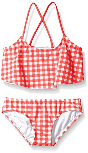Kanu Surf Girls' Toddler Karlie Flounce Bikini Beach Sport 2-Piece Swimsuit, Lilly Red Check, 3T