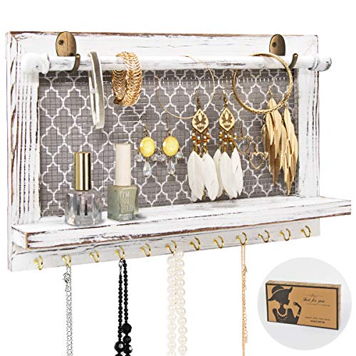 ASHLEYRIVER Organizador de joyas rústico montado en la pared para pendientes, collares, pulseras, otros accesorios (granja)