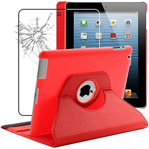 ebestStar - kompatibel mit iPad 4 Hülle Retina, iPad 3, iPad 2 Rotierend Schutzhülle Etui, Schutz Hülle Ständer, Rotating Hülle Cover Stand, Rot + Panzerglas Schutzfolie [iPad: 241.2x185.7x9.4mm 9.7