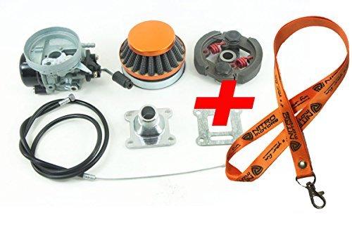 Nitro Motors Pocketbike Tuning Vergaser inklusive Luftfilter und Gasbautenzug + Tuning Kupplung Ersatzteil Carburator Clutch ET