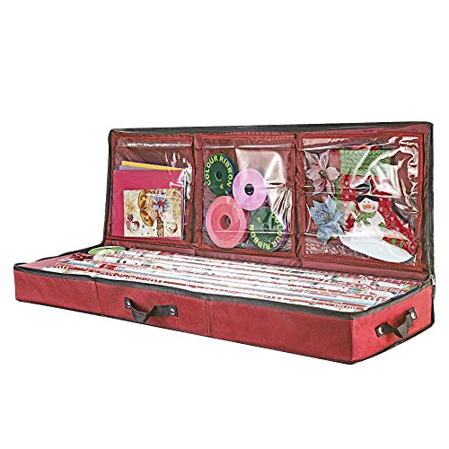 "Primode Storage Organizer for 40 Inch Wrapping Paper, Ribbon and Bows, 41""x 13.5""x 4.5"", Gift Wrap Storage Bag Durable 600D Oxford Material (Red)"