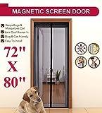 Linkhome 72(w) X 80(h) Magnetic Screen Door for French Doors/Sliding Glass Doors/Patio DoorsHands