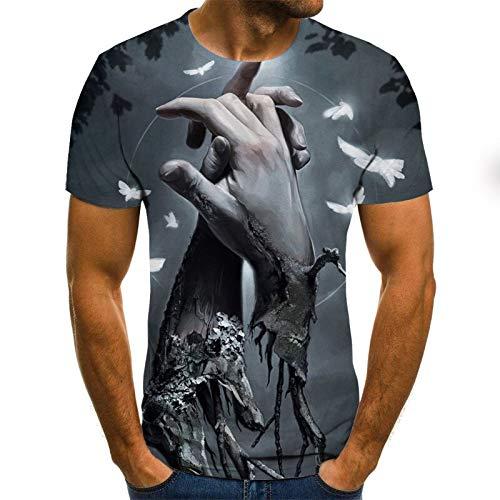 T Shirt Men Clothes Mens Summer Skull Print Men Short Sleeve T-Shirt 3D Print T Shirt Casual Breathable Funny T Shirts XL Txu-1075