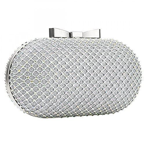 HMNS Bolsos de noche para mujer, bolsos y bolsos de mano, estilo retro, clásico, plateado, con cadena en forma de O, plata, 18x7x12cm