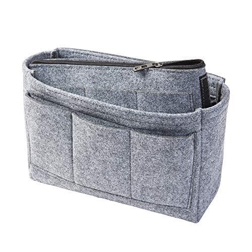 Taschenorganizer aus Filz, grau, L (Farbe & Größe wählbar) inkl. separater Tasche mit Reißverschluss. Handtaschenordner, Organizer für Taschen, Elektronik, Foto, Kosmetik
