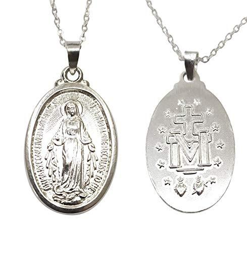 Sicuore Medalla Colgante Virgen Milagrosa Inmaculada - Plata De Ley 925 Incluye Cadena De Plata De 45cm Y Estuche para Regalo (Plateado)
