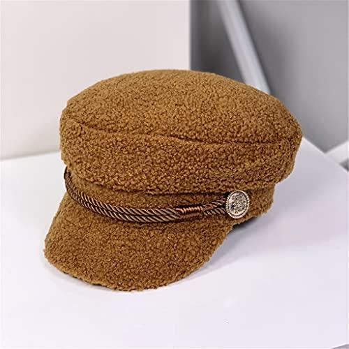 ZYKBB Agneau Cachemire Beret Chapeau Femmes Épais Chaud Top Cap Cap Tapis Pic Chapeau Capuchon octogonal All-Match (Color : D, Size : 56-58cm)
