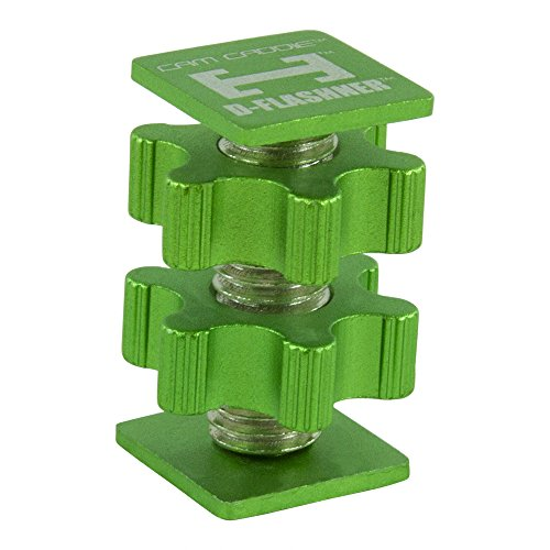 Cam Caddie D-Flashner Dual Sided Flash Shoe Adapter / Mount for DSLR Style Flash Shoe Connection Light Stands TTL Flash Accessories High Strength Steel and Aluminum Construction Hot and Cold Shoe Compatible (Green)