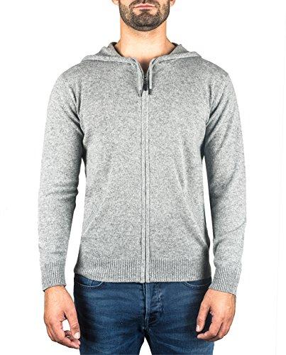 CASH-MERE.CH 100% Kaschmir Herren Kapuzenpullover   Hoodie mit Reißverschluss (Grau, XL)