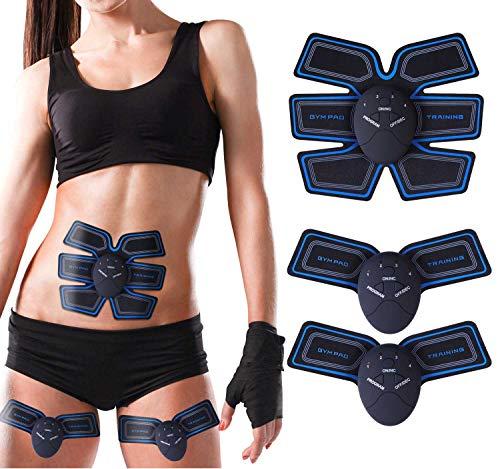 Elettrostimolatore Muscolare, EMS Stimolatore Muscolare con Cinghie di Supporto, Addome/Gamba/Braccio Muscolo Esercizio Electric Massager Bodybuilder