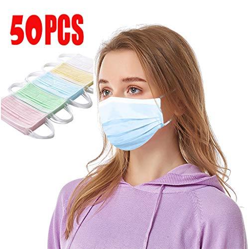 Rosennie 50 Stück Einmal-Mundschutz Bunte,Staubschutz Atmungsaktive Mundbedeckung, Erwachsene,Einweg Bandana, Gesichtsschutz für Camping,Laufen,Radfahren