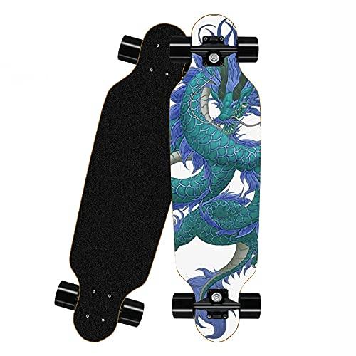 Langes Board Skateboard Anfänger Vollpension, Ahorndeck Junge und Mädchen Erwachsene Teen Sport Skateboard (WG-5)-Drache-C.