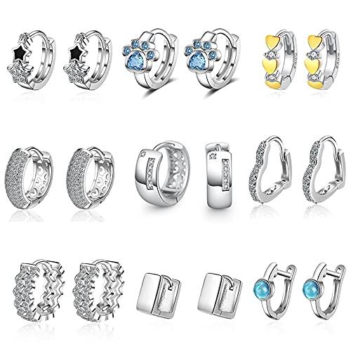 MALAT Pendientes de aro de geometría de corazón de Amor de circonio cúbico de Plata de Ley 925 Compromiso Femenino-Coral