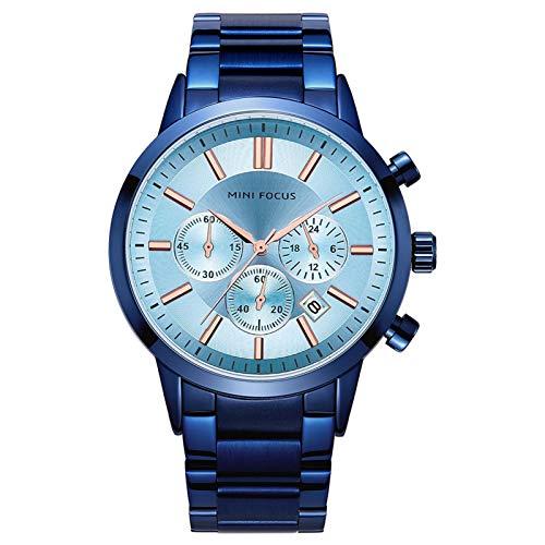 JTTM Reloj De Cuarzo para Hombre De Negocios De Moda con Cronógrafo Impermeable De Acero Inoxidable para Hombre, Fecha Automática,Blue and White