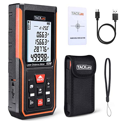 Tacklife S5-60 Upgraded Laser Measure 196Ft M/Ft/Inch Rechargeable Mute Laser Distance Meter with Electronic Angle Sensor Backlit LCD Pythagoras for Distance,Area, Volume-99 Records+Re-calibration