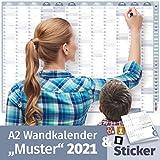 Wandkalender 2021 MUSTER, DIN A2 (59,4x42 cm)   228 Sticker für alle Anlässe & Termine   16 Monate: Nov'20-Feb'22   Familien, WGs, Paare   Jahresplaner groß, Ferien, Feiertage, Quartale, Plakat