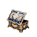 Feyarl Tiny Vintage Rectangle Blue Tiny Trinket Box Jewelry Box Treasure Chest Ornate Antique Finish Engraved Organizer Box Valentine Wedding Christmas Birthday Gift Dresser Deco(Small) 3.5 x 2.3 x 1.57 inches