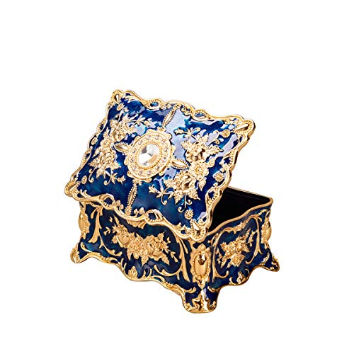 Feyarl Vintage Rechteck Blau Schmuckkästchen Schmuck Box Kunstvolles Antik Finish mit Gravur Trennwände in (Klein)