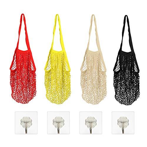 LAITER 4 Stück Einkaufsnetze Taschen Netz Einkaufstasche Einkaufen Handtasche Mit Langem Griff Wiederverwendbar Tragbar Einkaufsnetz Veranstalter für Obst Gemüse Markt Strand(4 Farben)