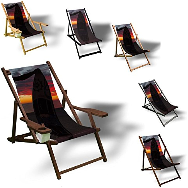 Printalio - Surfer Sonnenuntergang - Liegestuhl Bedruckt Balkon Garten Sonnenliege Relax Holz Terrasse  Aluminium, Schwarz