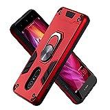Funda para Xiaomi Redmi Note4 Soft TPU + Duro PC Doble Parachoques Cubierta a Anillo Soporte con Soporte y Carcasa Desmontable, Funda Protectora Serie Armadura (Rojo)