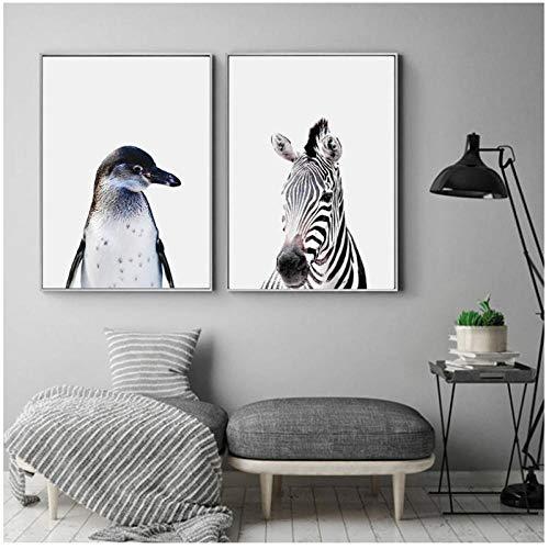 cgsmvp Pinguin Zebra Wandkunst Papagei Leinwand Malerei Moderne Kindergarten Tier Poster und Druckbilder für Wohnzimmer Kinder Wohnkultur / 40x60 cmx2 Stücke-Kein Rahmen