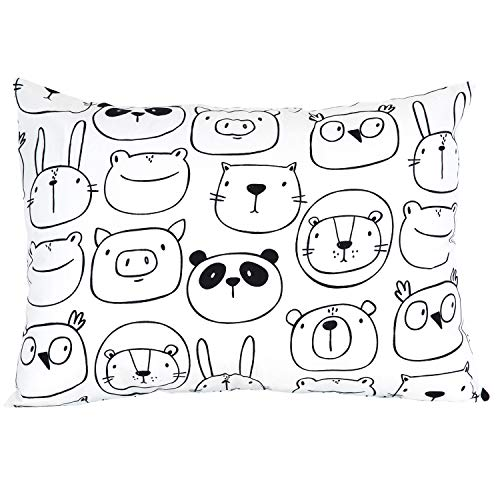 """ADDISON BELLE 100% Organic Toddler Pillowcase Fits Both 13""""x18"""" and 14""""x19"""" Pillows - Soft, Durable & Breathable (Monochrome Animals)"""