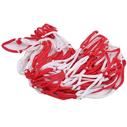 Tarea pesada Cestas de baloncesto al aire libre de baloncesto Voleibol de fútbol grande Nylon rojo + Bolsa de red trenzada trenzada blanca Accesorios deportivos Se adapta a Interiores y Exteriores