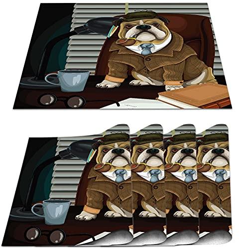 COFEIYISI Manteles Individuales Juego de 4,Detective inglés Tradicional con Pipa y Sombrero Imagen de Sherlock Holmes Salvamanteles Resistentes al Calor para la Mesa de Comedor de Cocina 30x45cm