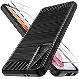 LK Custodia Compatibile con Samsung Galaxy S21-2 Pack Screen Protector, Protettiva Flessibile Soft TPU Spazzolato Case Cover- Nero