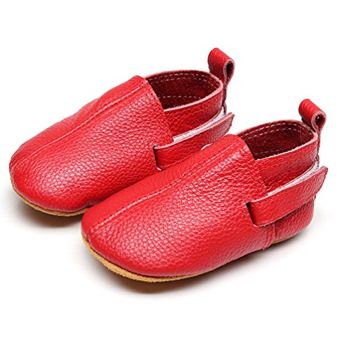 Leather Baby Shoes - Premium Soft Sole Boys and Girls Boots for Infant, Newborn, Toddlers (0-3 Months/US 3.5/4.33''/See Size Chart, Red)