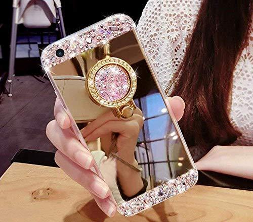 Artfeel Glitzer Spiegel Hülle für iPhone XR, Bling Glänzend Diamant Strass mit Ring Halter Ständer Handyhülle,Ultra Dünn klar Weich Silikon Make Up Spiegel Hülle-Gold