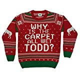 Why is The Carpet All Wet Todd Ugly Christmas Sweater (Small) Red