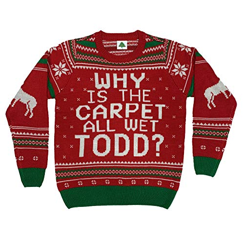 Why is The Carpet All Wet Todd Ugly Christmas Sweater (Large), Red, Size Large