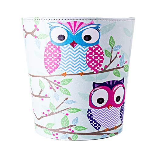 Batop Papierkorb Kinder, 10L Wasserdicht PU Leder Papierkorb Mülleimer mit Eule Motiv, Papierkorb für Kinderzimmer/Büro/Wohnzimmer