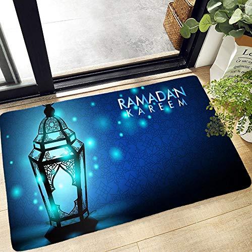YuPancjua Musulmán Halal Ramadan Impresión 3D Alfombra De Puerta Alfombra De Entrada Cocina Baño Alfombra Antideslizante Alfombra De Franela Suave Lavable 60X90Cm J12854