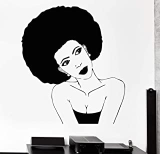 Melissalove Afro Hairstyle Vinyl Wall Stickers Black African Woman Hair Stylist Salon Beauty Sticker Personality Design Wallpaper SA252 (Black)