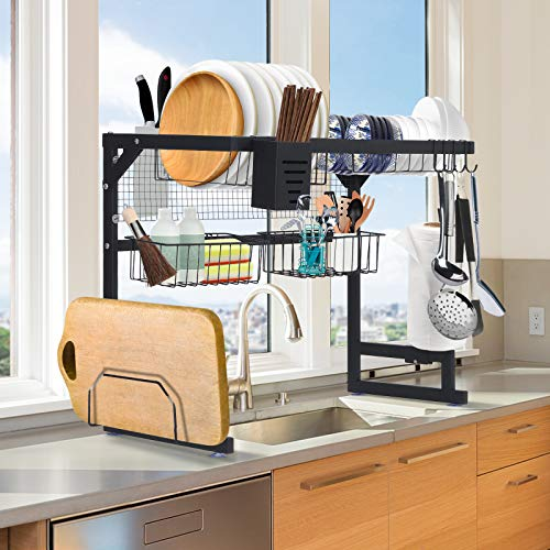 Over The Sink Dish Drying Rack, TOOCA Dish Drying Rack 25.59'' x 12.80'' x 20.07'' for Kitchen Organizer Storage Space Saver Shelf Holder with Utility Hooks, Stainless Steel (Sink Size ≤ 25 Inch)