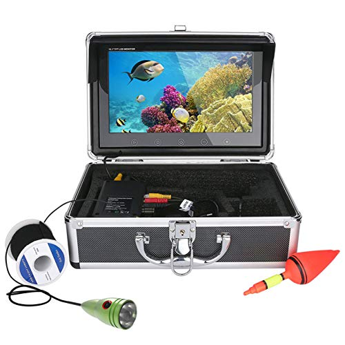 HWMYA Monitor de Color de 10 Pulgadas 20M 1000TVL Kit de cámara de Video de Pesca bajo el Agua 6 PCS LED Luces,30M