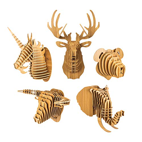 bambuswald Trofeo de Madera - Cabeza de Animal|Decoración en óptica 3D: Elefante 51 x 50 x 49 cm| Esculturapara Cuartos Infantiles | Cabeza Decorativa para la Pared - Puzle 3D + Manual