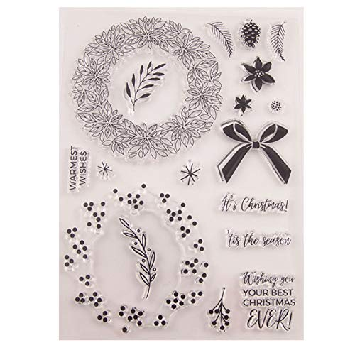 Welcome to Joyful Home 1pc Warm Wishes Wreath Rubber Clear Stamp for Card Making Decoration and Scrapbooking