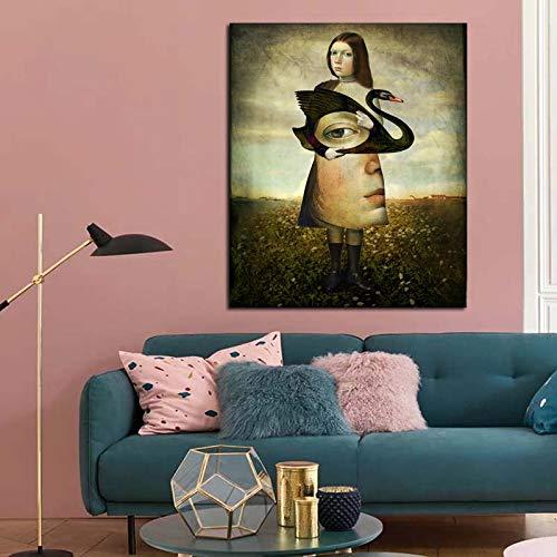 DIY Pintar por números Girl holding a goose peinture abstraite art moderne photo pintar por numeros para adultos y ninos Con pincel y pintura acrílica pintura para adultos por50x60cm(Sin marco)